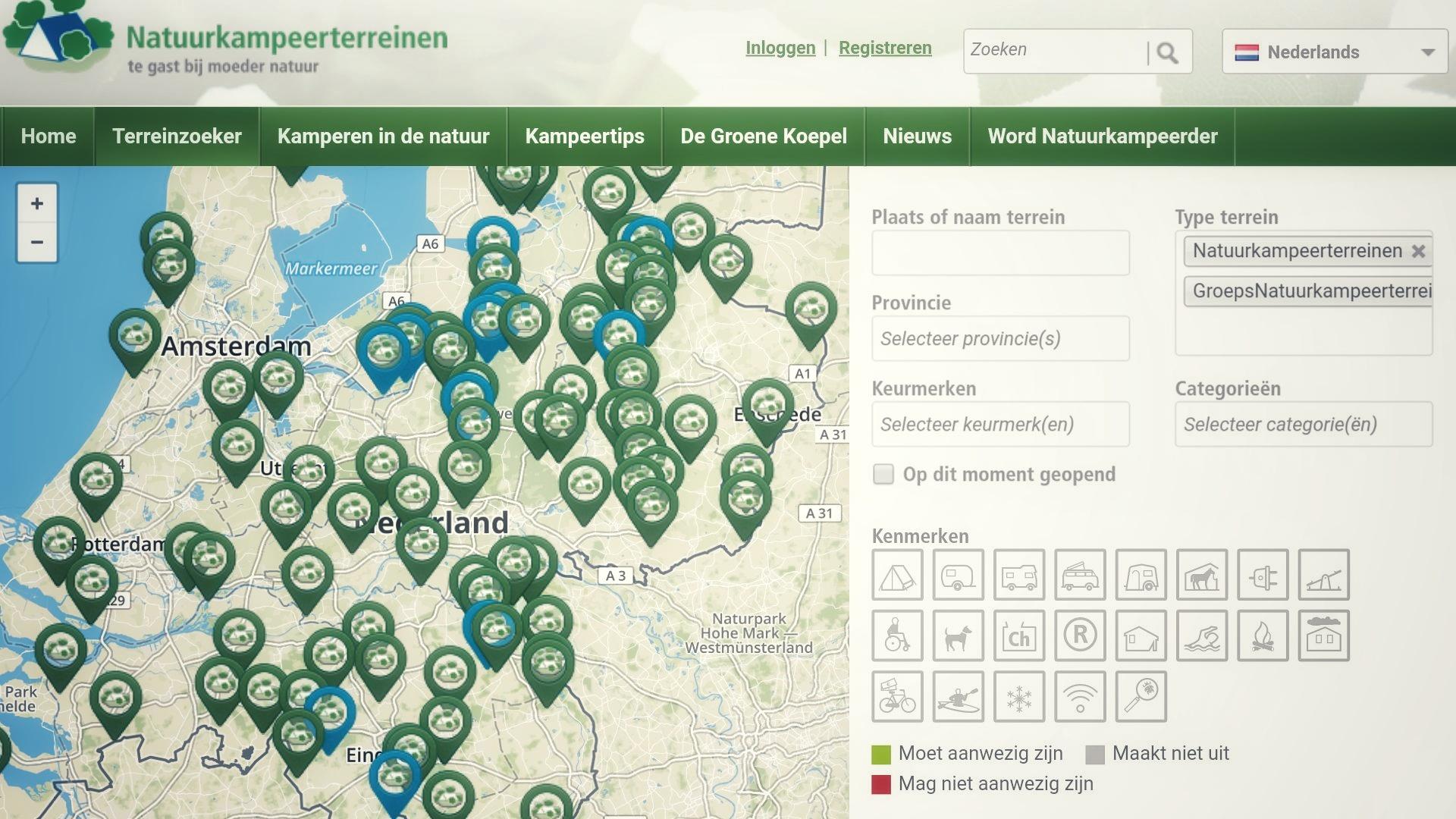 Natuurkampeerterreinen op de kaart