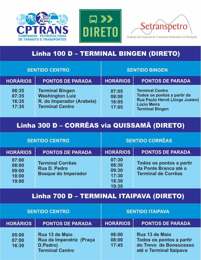 Horário linha ônibus direto em Petrópolis