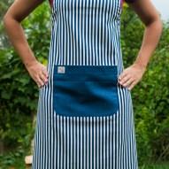 Avental de Cozinha Listrado Bolso Azul