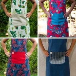 Cactos, Vermelho Florido, Corais, Azul Jeans Bolso Listrado