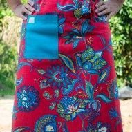 Avental de Cintura Vermelho Florido