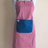 Avental de Cozinha Xadrez Rosa Bolso Jeans