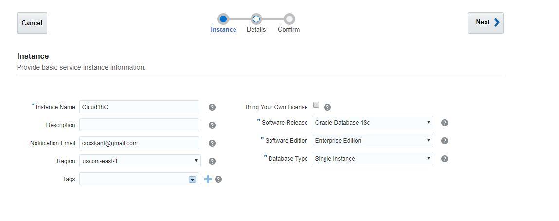 Installing Oracle 18c Database on Cloud in 3-clicks - ORACLE-HELP