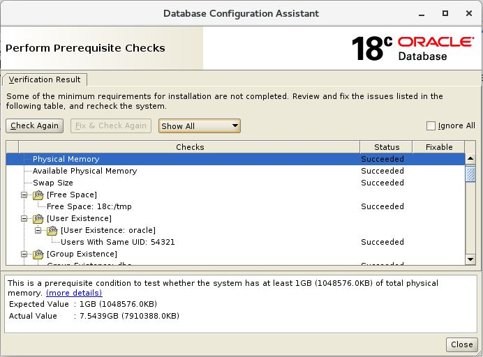 executePrereqs with DBCA in Oracle 18c - ORACLE-HELP