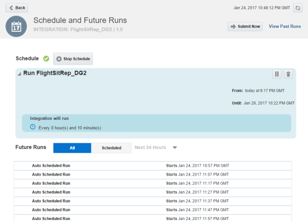 Scheduler set and showing future executions times