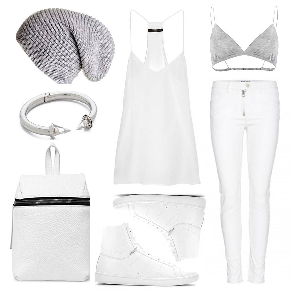 outfit collage grey beanie tibi camisole grey bra bralette beautiful people fashion designer acne pants trousers saint laurent high tops sneakers kara backpack white vita feda jewellery jewelry