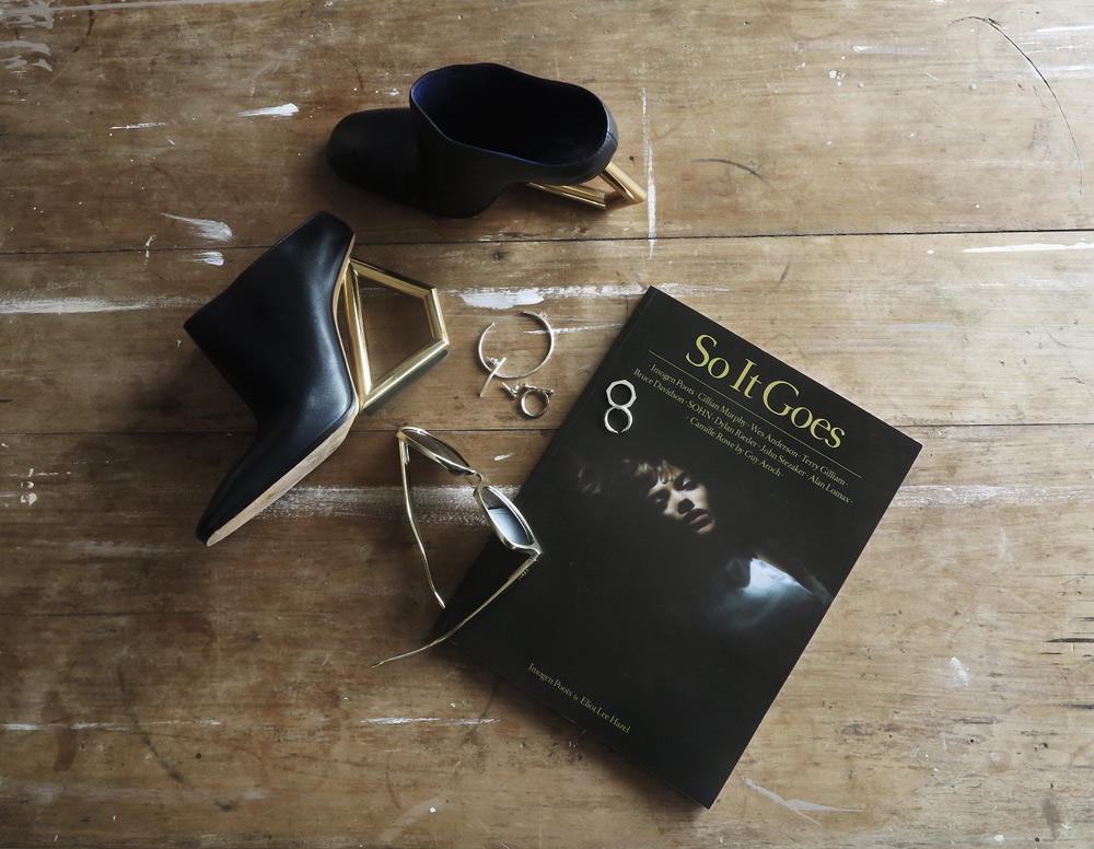 so it goes fashion magazine celine shoes hexagon metal jewellery flat lay oracle fox