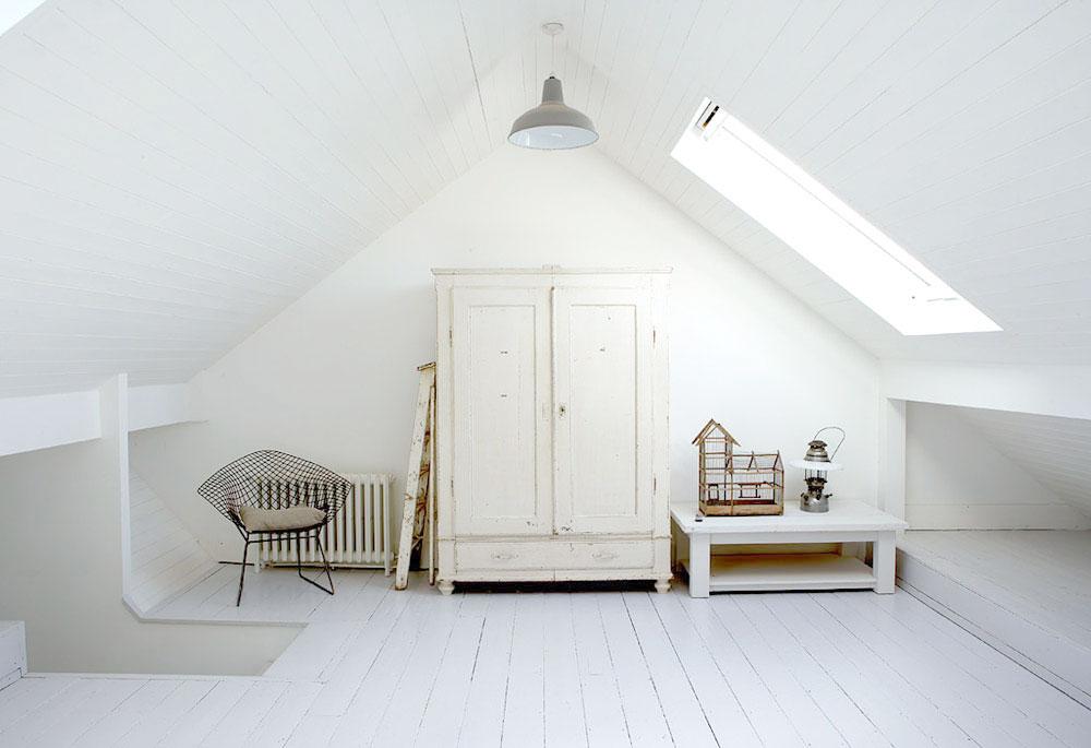 White, Home, Interior, Industrial, Minimal Inspiration, White Floorboards,  Attic, Oracle Fox