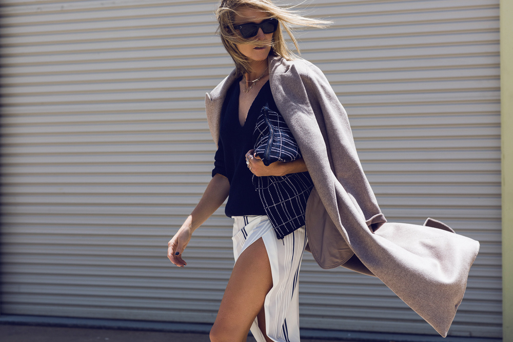 Maurie & Eve, navy knit, split skirt, scanlan & theodore, zara shoes, oxford shoes, celine sunglasses, trench coat, oracle fox outfit,