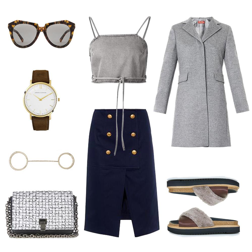 grey coat, max mara coat, kenzo skirt, grey outfit, topshop slides, proenza scholar bag, karen walker sunglasses, outfit collage