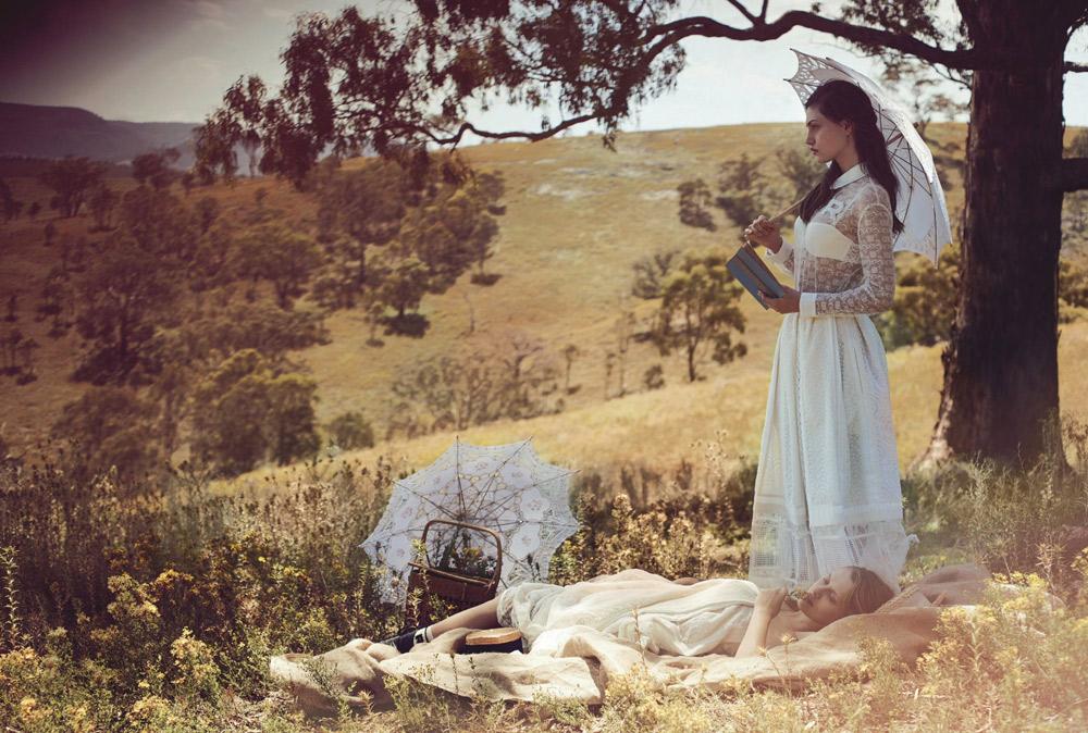 vogue australia, vogue march 2015, will davidson, photographer, phoebe tonkin, teresa palmer, picnic at hanging rock, fashion editorial