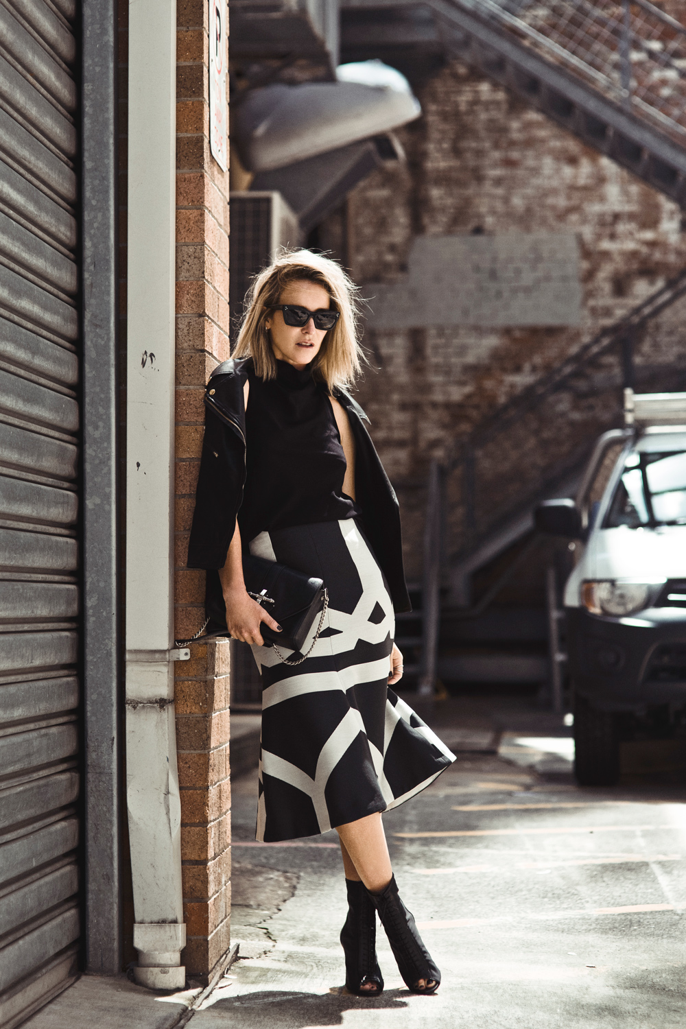 Camilla and Marc, Camilla Marc, leather jacket, high neck top, print skirt, black and white, outfit, brisbane, oracle fox