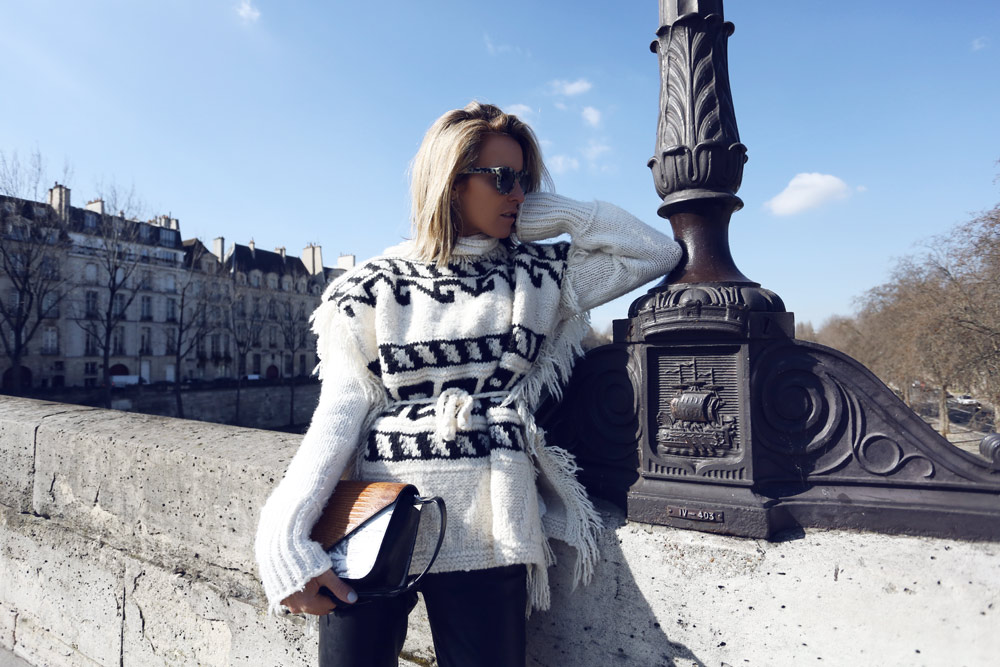 Isabel Marant Look, Isabel Marant Knit, Isabel Marant Aztec Knit, Isabel Marant Poncho, Isabel marant Leather bags, leather pants, Alexander Wang Bag, Paris, Oracle Fox outfit