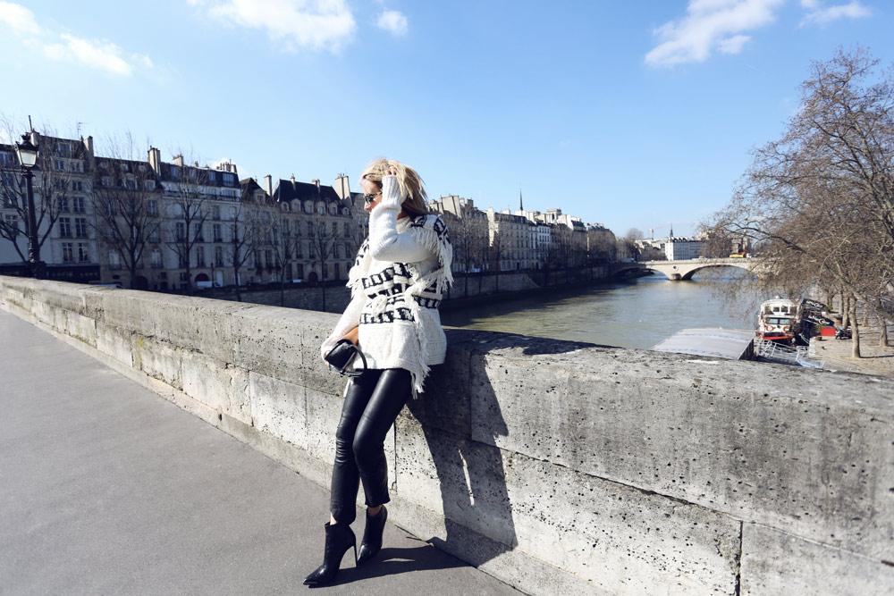 Parisian Style, Isabel Marant Knit, Isabel Marant Aztec Knit, Isabel Marant Poncho, Isabel marant Leather bags, leather pants, Alexander Wang Bag, Paris, Oracle Fox outfit