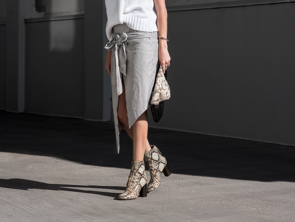 Isabel Marant, Python Boots, Ankle Boots, Grey Outfit, Striped Skirt, Neutral, Neutral Outfit, Bag, Amanda Shadforth, Oracle Fox