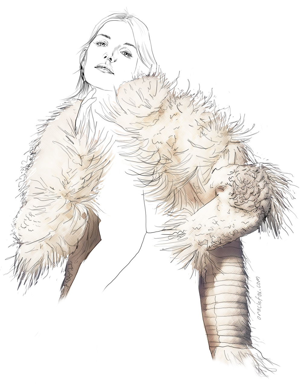 Isabel Marant, fur jacket, jur coat, cream, stella alias, ahmann, sean seng, harpers bazaar, us, august 2015, illustration, oracle fox, amanda shadforth