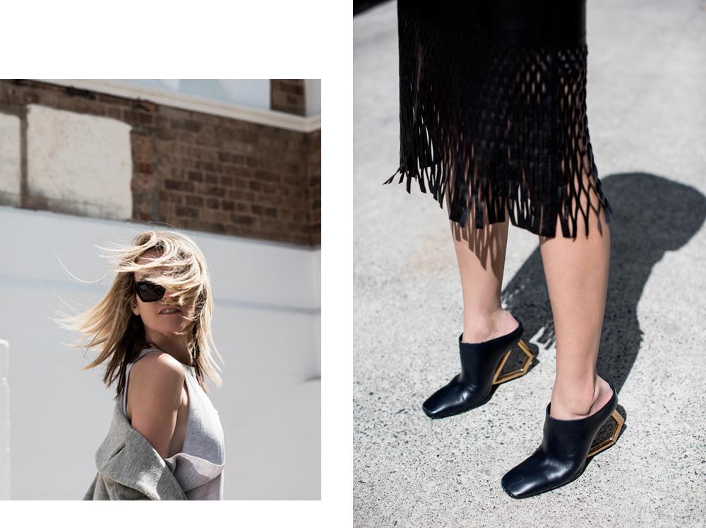 Dion Lee, Leather Skirt, Celine Shoes, Maurie & Eve, Coat, Jacket, Mercedes Benz, Fashion Festival, Sydney, Sunglasses, Amanda Shadforth, Oracle Fox