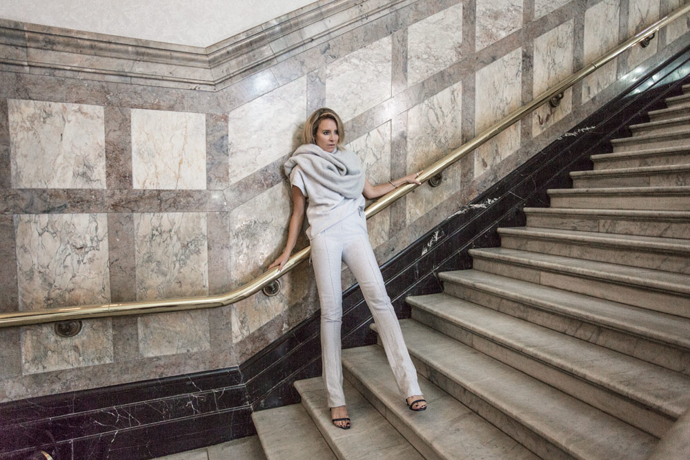 Toni Maticevski, grey top, grey pants, grey knit, spring summer, 2015, outfit, monochrome outfit, amanda shadforth, oracle fox