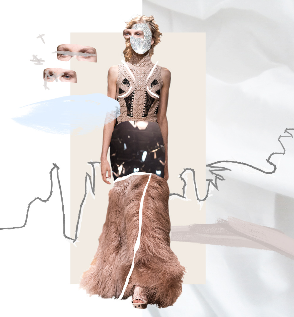 Alexander McQueen, Spring Summer, SS 2016,  2016, 2015, Ready To Wear, Show, collage, details, runway, amanda shadforth, artist, oracle fox