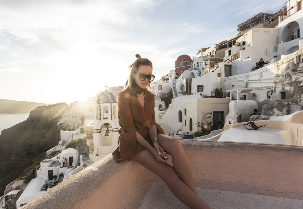 Oia, Sunset, Santorini, Terracotta, Dress, Brown, dress, celine, sunglasses, amanda, shadforth, oracle, fox