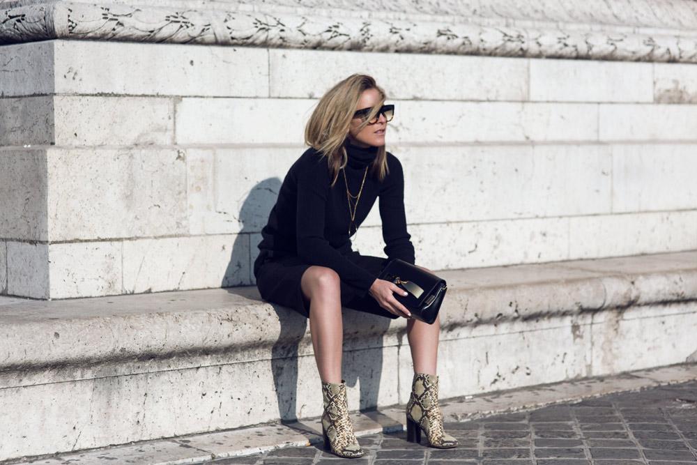 Black outfit, chloe bag, chloe handbag, isabel marant, boots, snakeskin ankle boot, gold jewellery, celine sunglasses, amanda shadforth, paris, oracle fox