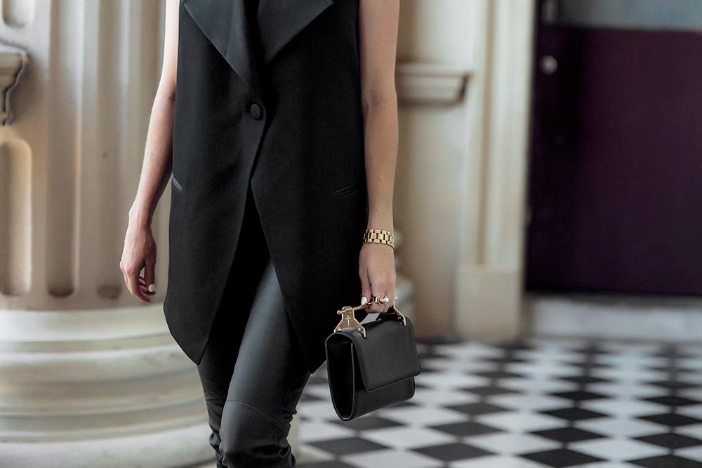 McQ, McQ Alexander McQueen, Alexander McQueen, Black vest, black pants, leather pants, all black outfit, oracle fox, M2 malletier, malletier bag, bag