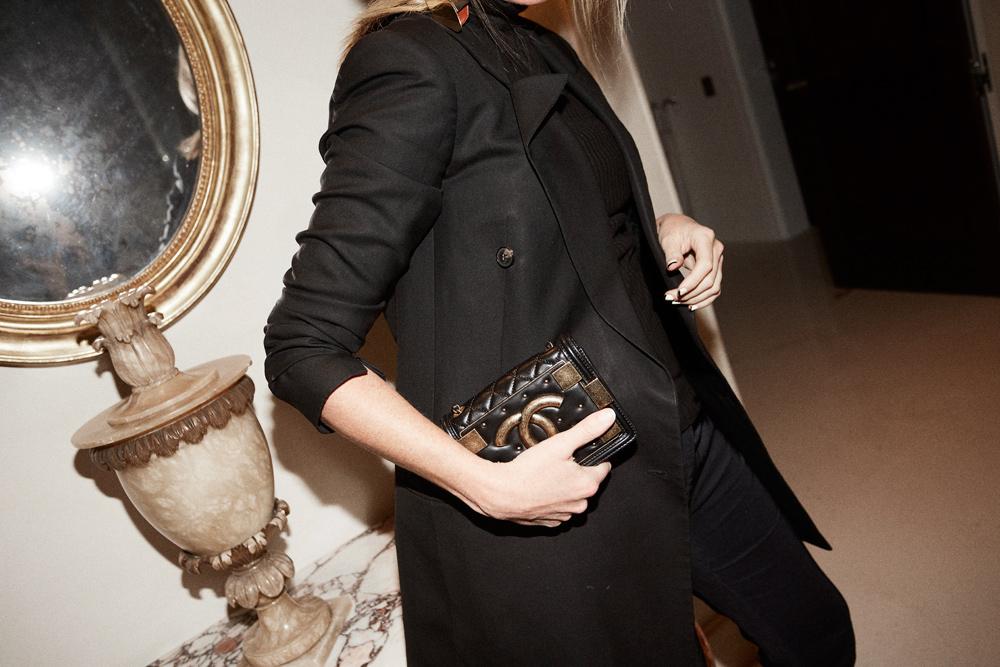 chanel, chanel boy bag, chanel bag, black jacket, black blazer, celine shoes, celine boots, camilla and marc, black outfit, flash phototgraphy, amanda shadforth, oracle fox