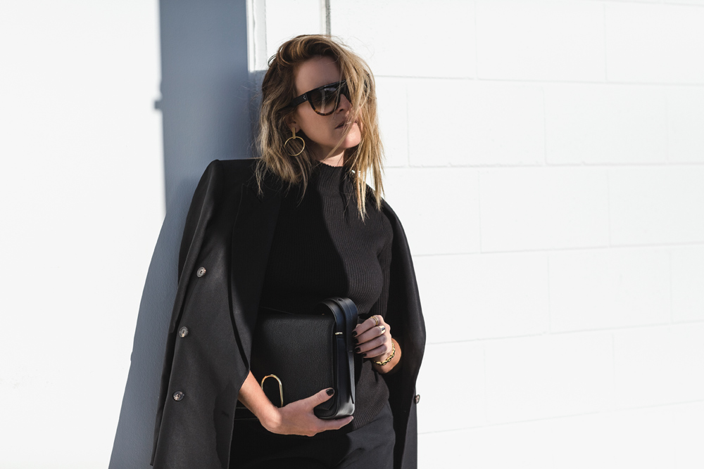 3.1 phillip lim, phillip lim, cropped flares, celine sunglasses, holly ryan, holly ryan jewellery, black outfit, monochrome outfit, ankle boots, oracle fox , amanda shadforth