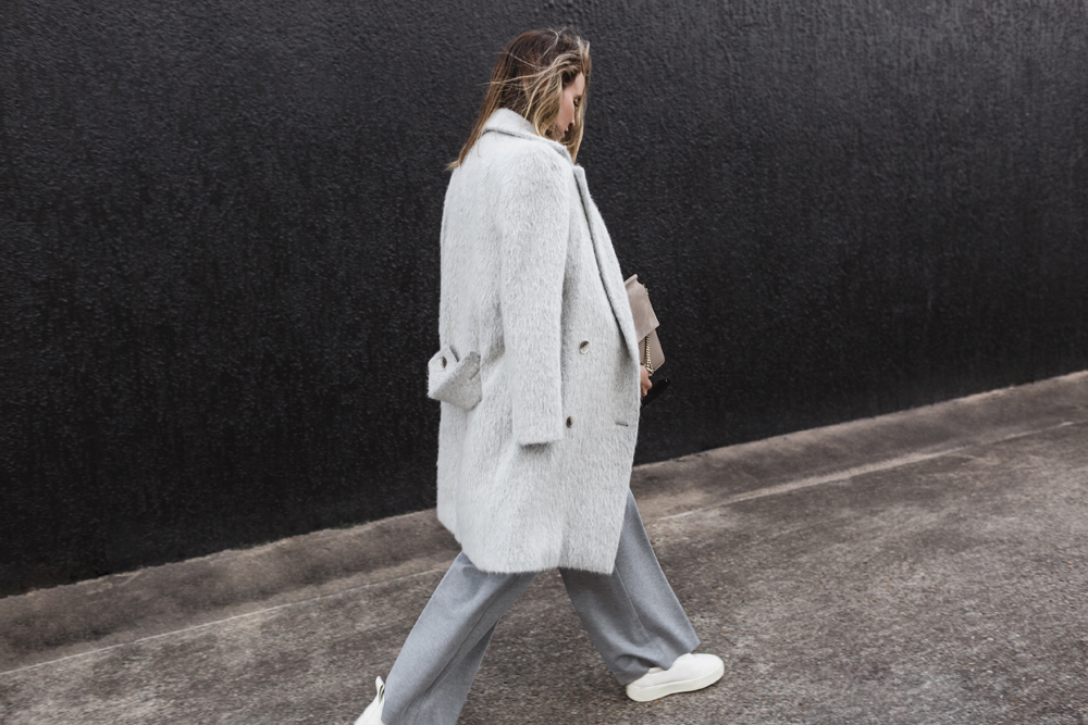 grey coat, grey trouser, grey pants, chloe faye bag, chloe, chloe bag, celine sunglasses, celine sunglasses,