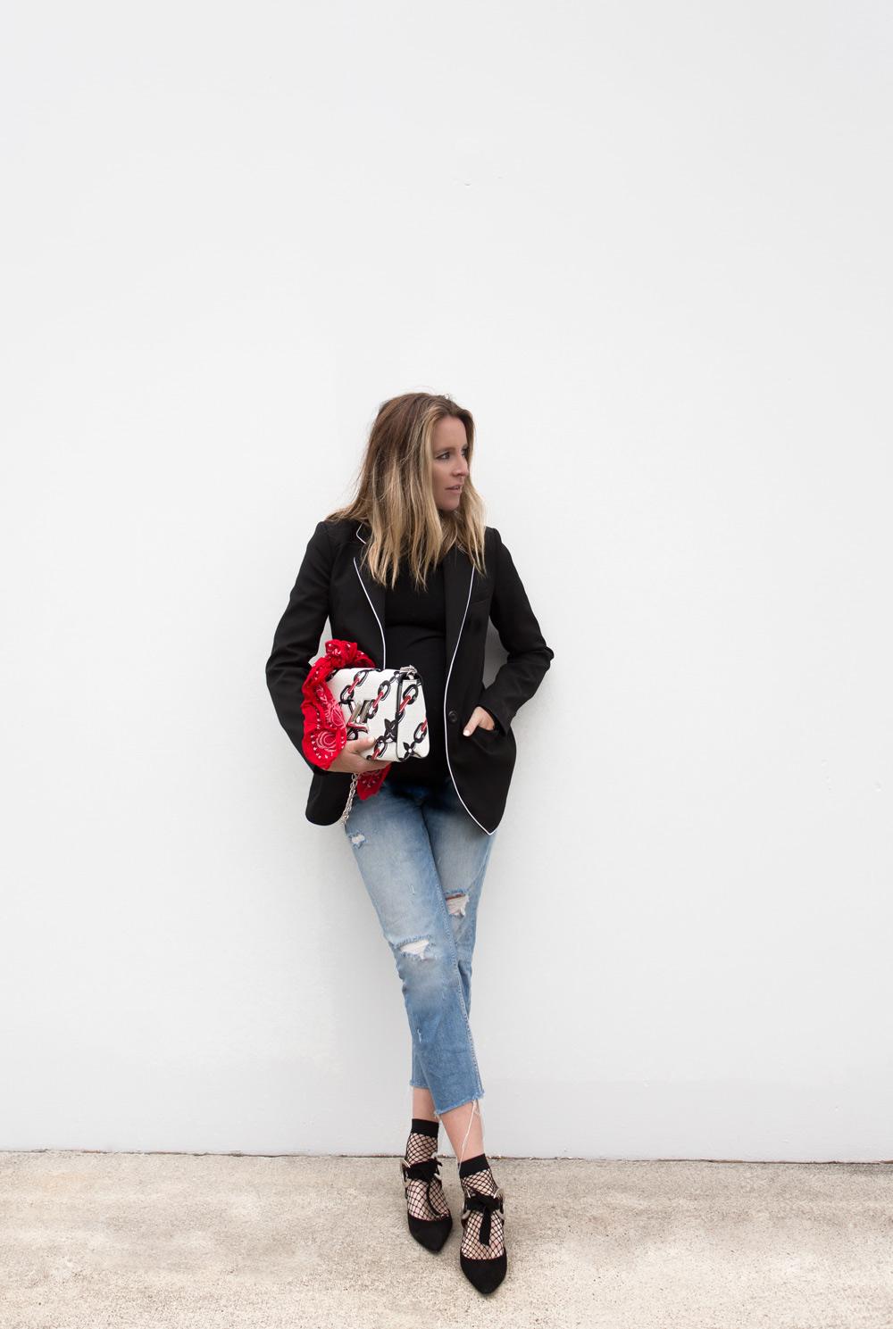Proenza Schouler shoes, Proenza Schouler, mirror heels, louis vuitton bag, bandana, jeans, street style, amanda shadforth, oracle fox
