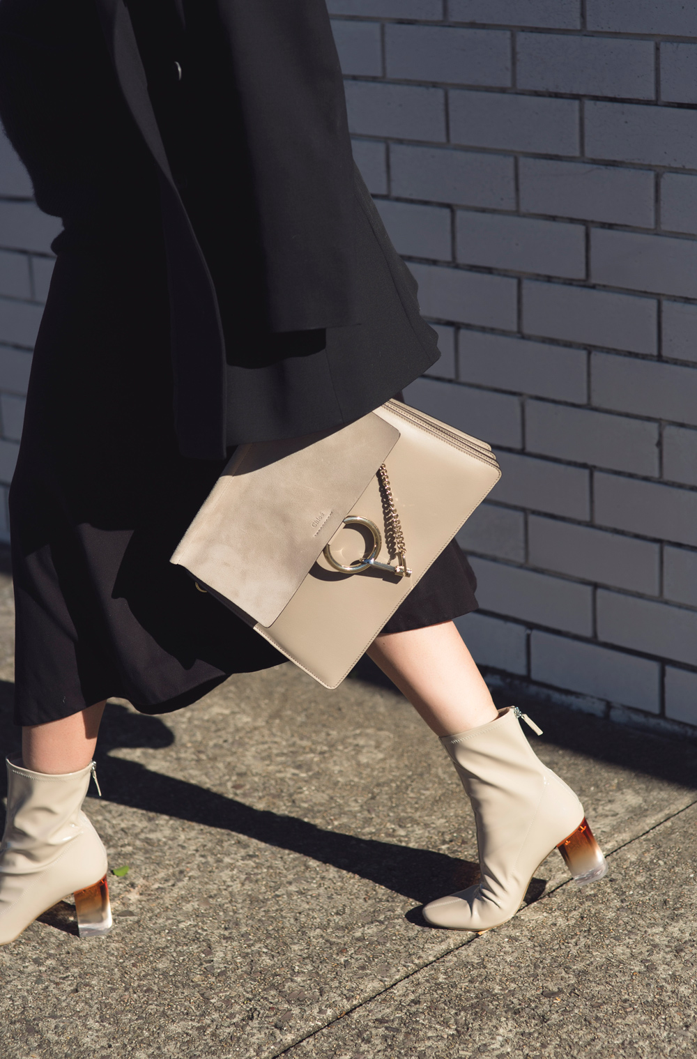 dior boots, lucite boots, black outfit, skirt, chloe bag, celine sunglasses, outfit, amanda shadforth, oracle fox