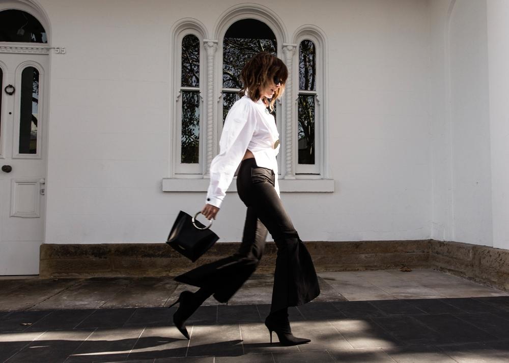 Balenciaga boots, balenciaga knife boots, sock boots, jacquemus, stella McCartney sunglasses, monochrome outfit, outfit, amanda shadforth