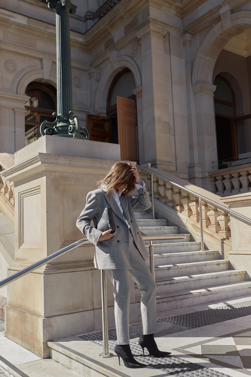 Balenciaga, Suit, bag, shoes, knife boots, triangle bag, sunglasses, amanda shadforth, outfit, street style, suit
