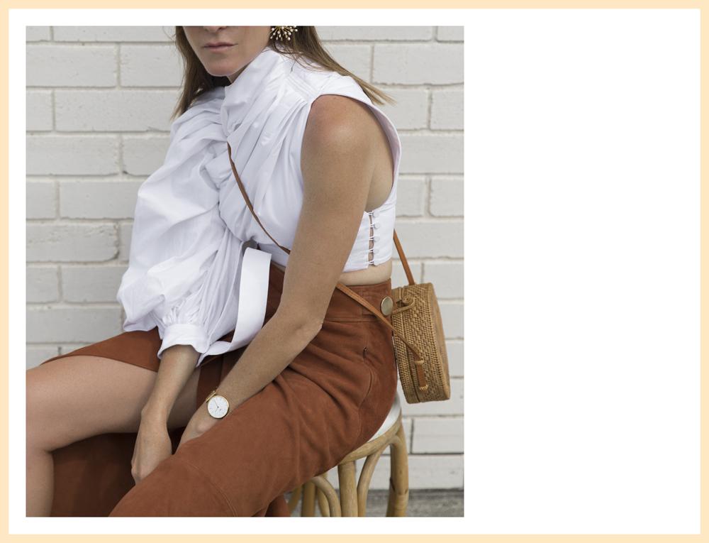 Jacquemus, one-shoulder top, ellery earrings, chloe shoes, slides, gold jewellry, amanda shadforth