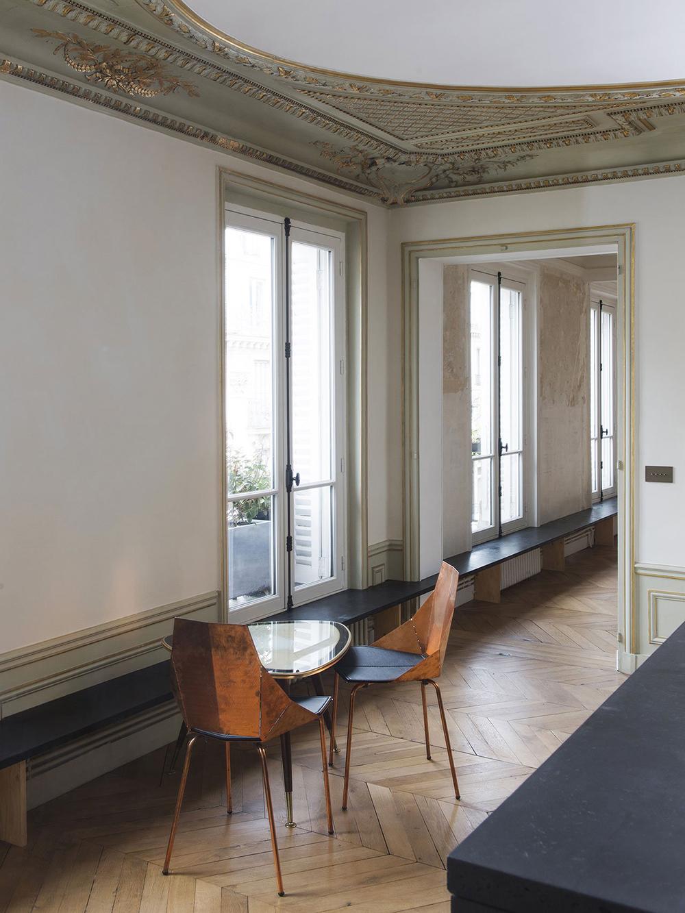 Interiors, Paris, Apartment, Inspiration, Home, living. Decor, Timber, White Walls, Mirror,