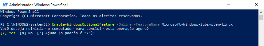 Janela administrativa do PowerShell