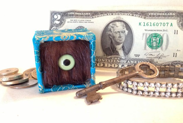 Eyeball Box mixed media (mink, glass eye, brocade, illustration board/structural elements)
