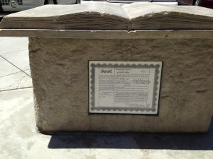 Lot deed from 1914 in monument at Adams and Brookhurst.