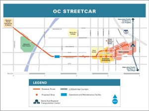 Route of the OC Streetcar (OCTA).