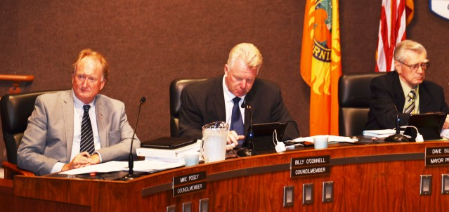 COUNCILMAN MIKE POSEY (left) withdrew an agenda item at Monday's Huntington Beach City Council meeting, but still had to hear a lot of criticism (OC Tribune photo).