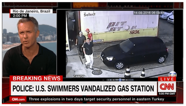 CNN BROADCAST with video of the incident involving four American swimmers.