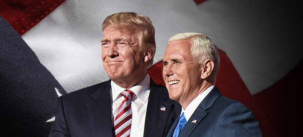 DONALD TRUMP and Mike Pence, the GOP ticket for 2016 (Trump campaign photo).