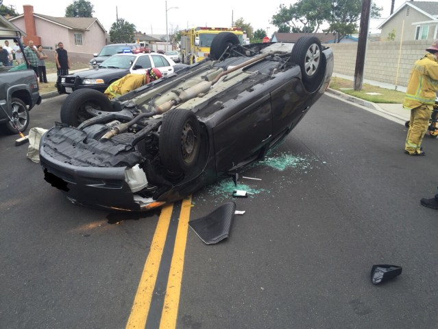 A ONE-CAR accident in Garden Grove Saturday morning sent one man to the hospital (GGFD photo).