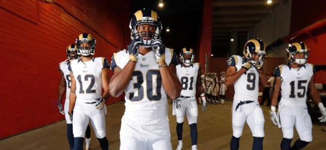 THE LOS ANGELES RAMS (at last) open their 2016 NFL season on TV Monday (Rams photo)>