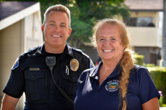 GARDEN GROVE PD Officer Roger Flanders with Peg Peterson, Mental Health Specialist, Centralized Assessment Team. Photo by Steven Georges/Behind the Badge OC