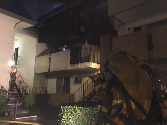 A FIRE at the Malabar Apartments in Garden Grove Tuesday night did an estimated $650,000 in damage (GGFD photo).