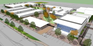 """AERIAL VIEW of the """"new"""" Pacifica High campus (GGUSD)."""