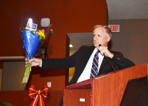 OUTGOING MAYOR Jim Katapodis expressed his thanks to city council colleagues, city staff, friends and family (OC Tribune photo).