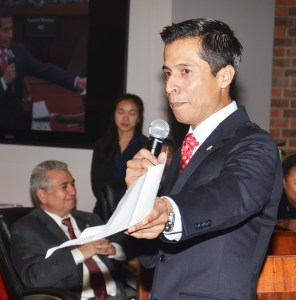 SERGIO CONTRERAS thanks family members at Tuesday's meeting of the Westminster City Council (OC Tribune photo).