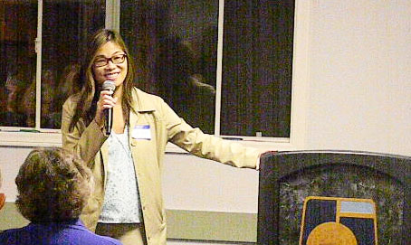 LISA KIM, community and economic development director for Garden Grove, speaking at Wednesday' open house event (OC Tribune photo).